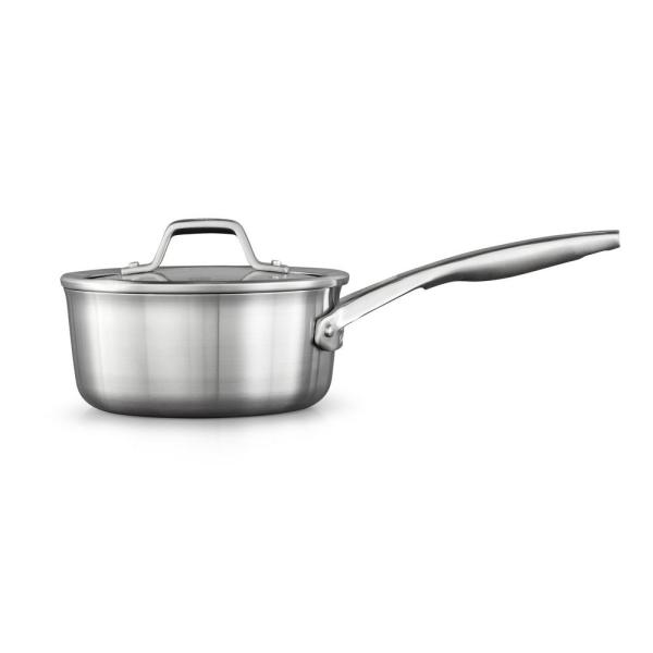 Calphalon Premier 1 5 Qt Stainless Steel Sauce Pan With Glass Lid 2029642 The Home Depot