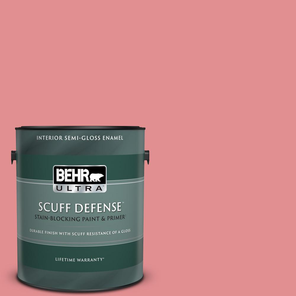 Behr Ultra 1 Gal 140d 4 Fresh Pink Extra Durable Semi Gloss Enamel Interior Paint And Primer In One 375401 The Home Depot