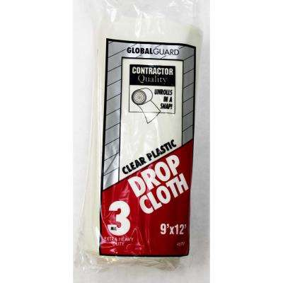 9 ft. x 12 ft. 3 mil Rolled Plastic Drop Cloth (12-Pack)