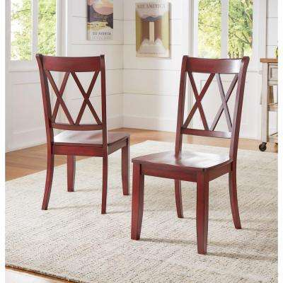 Sawyer Rich Berry Wood X Back Dining Chair Set Fo 2