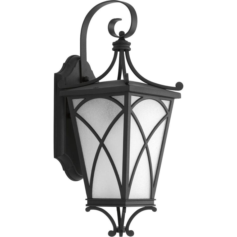 Progress Lighting Cadence Collection 1-Light Outdoor 6 Inch Black Wall Lantern