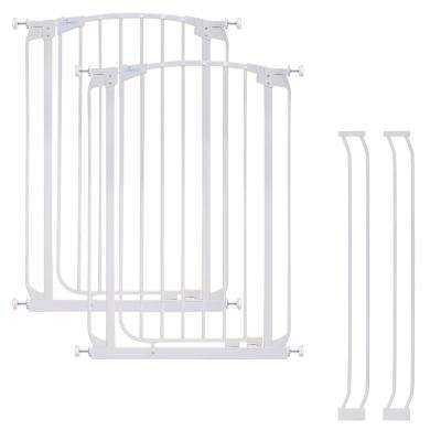 Chelsea 40 in. H. Extra Tall Auto-Close Security Gate in White Value Pack with 2 Gates and 2 Extensions