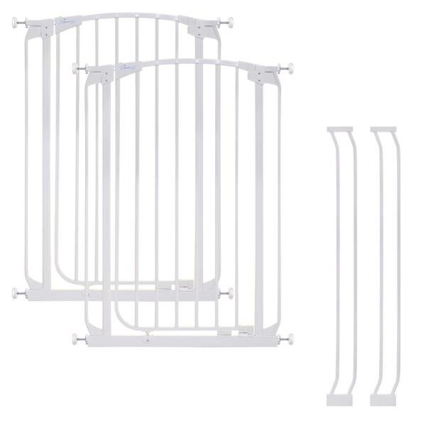 Chelsea 39.4 in. H. Extra Tall Auto-Close Security Gate in White Value Pack with 2 Gates and 2 Extensions