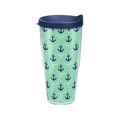 Anchors Scallop Pattern 24 oz. Double Walled Insulated Tumbler with Travel Lid