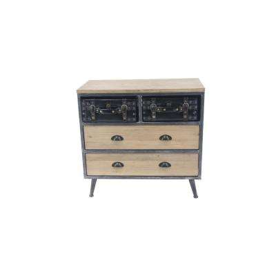 4-Drawer Light Brown Wood and Faux Leather Chest
