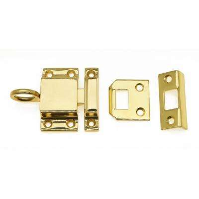 Solid Brass Transom Catch in Polished Brass No Lacquer