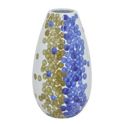 Blue and Gold Dotted Ceramic Decorative Vase with Glossy Finish