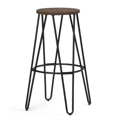Simeon 30 in. Black and Cocoa Brown Industrial Metal Bar Stool with Wood Seat