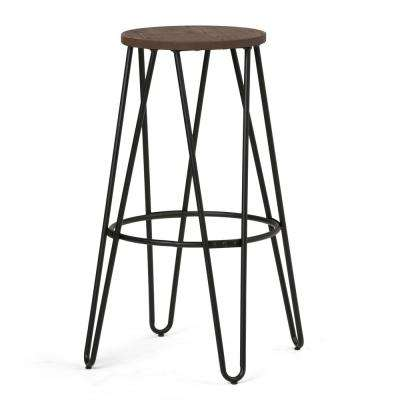 Simeon 30 in. Black and Cocoa Brown Metal Bar Stool with Wood Seat