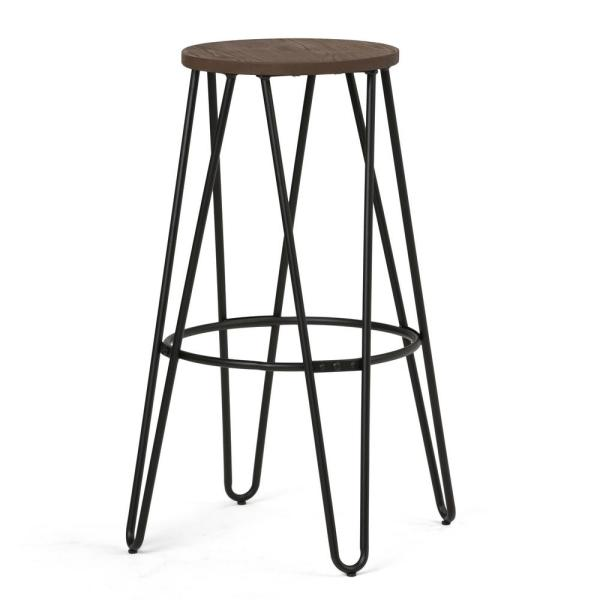 Simpli Home Simeon 30 in. Black and Cocoa Brown Industrial Metal Bar Stool with Wood Seat