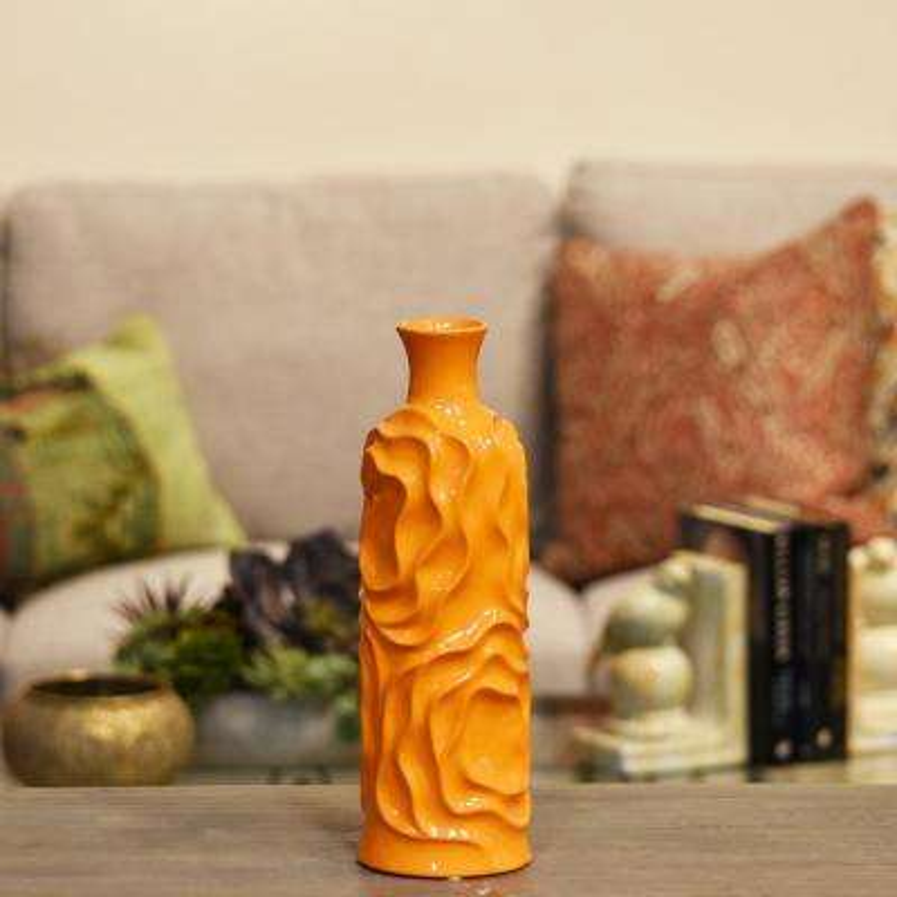 Orange Gloss Ceramic Decorative Vase