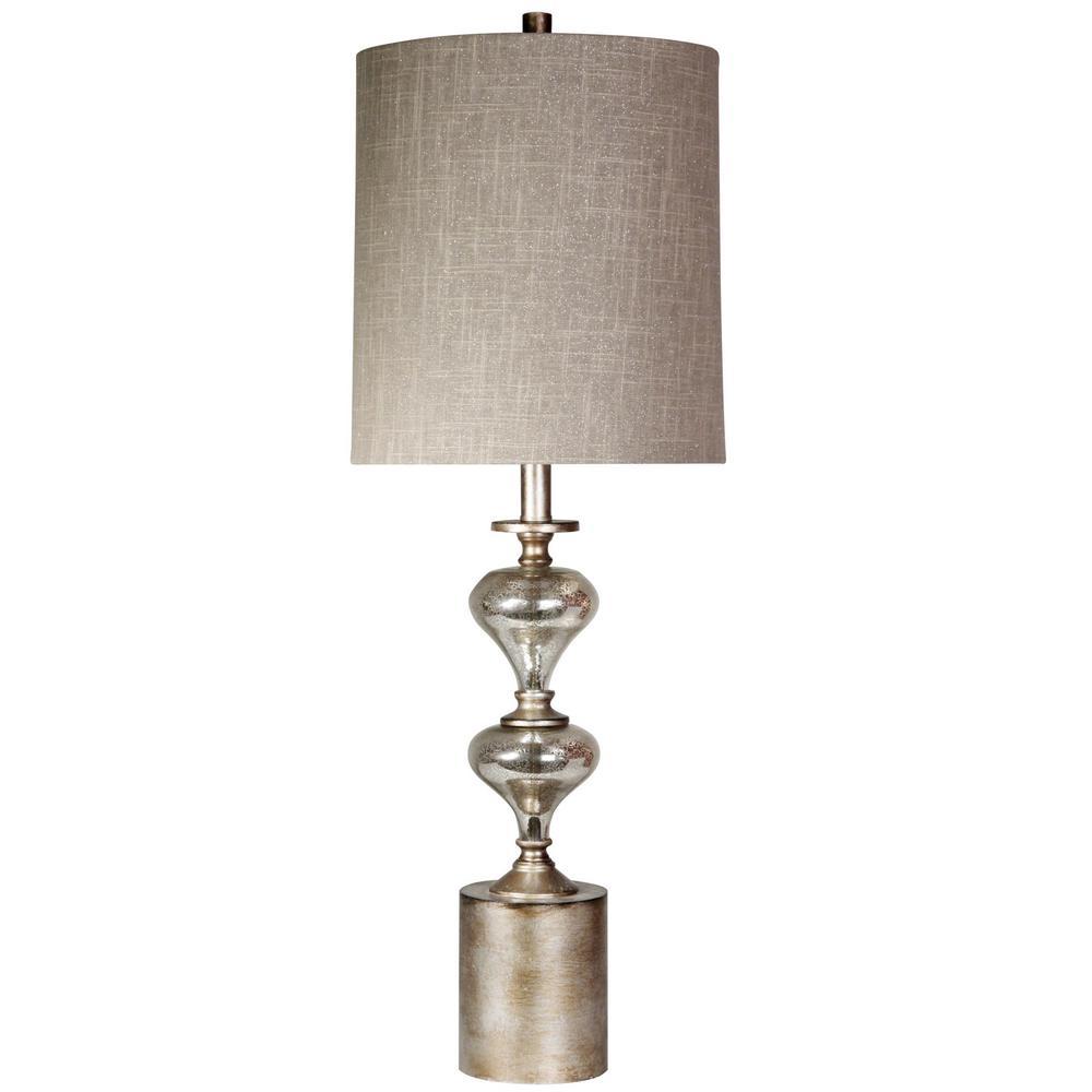 34 in. Mercury+Laslo Table Lamp with Taupe Hardback Fabric Shade