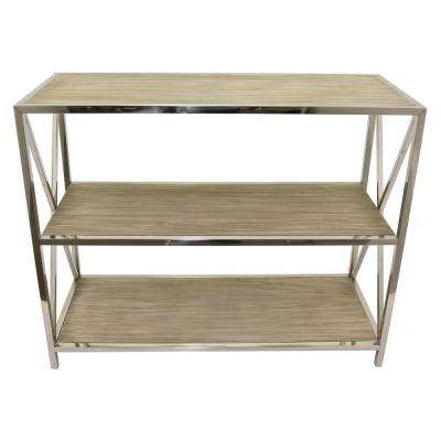 31.5 in. Silver Metal and Wood Table