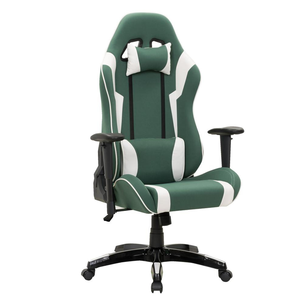 Green and White High Back Ergonomic Office Gaming Chair with Height