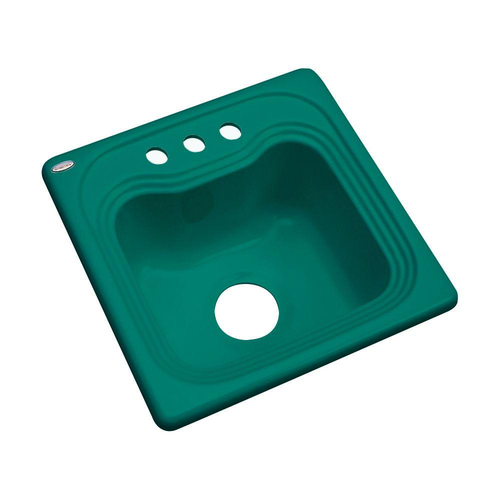 Thermocast Oxford Drop-In Acrylic 16 in. 3-Hole Single Bowl Entertainment Sink in Verde