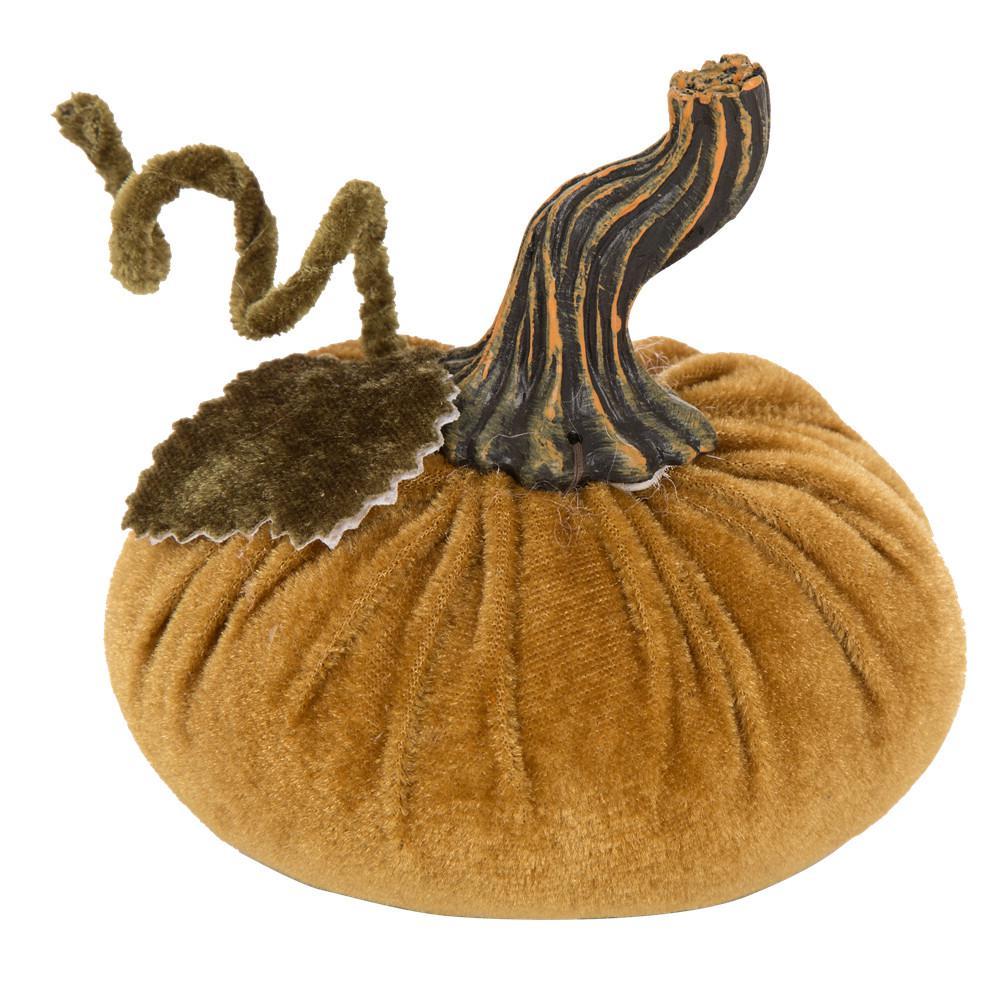 Glitzhome 4.72 in. Velvet Gold Burlap Small Pumpkin