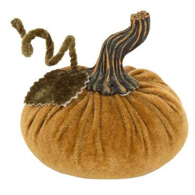 4.72 in. Velvet Gold Burlap Small Pumpkin