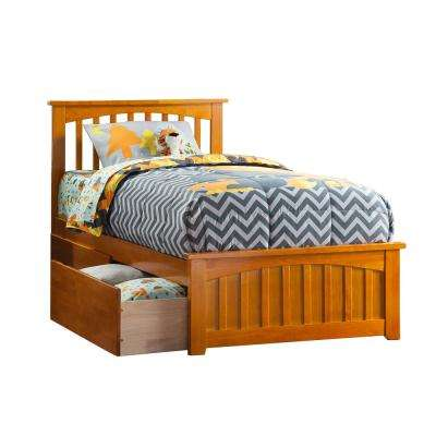 Mission Caramel Twin XL Platform Bed with Matching Foot Board with 2-Urban Bed Drawers
