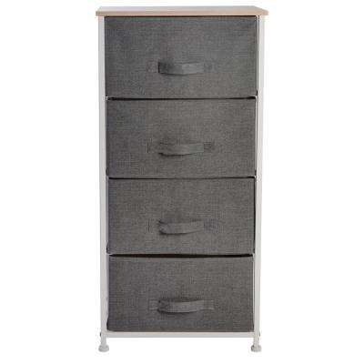 17.7 in. x 11.8 in. x 37.4 in. 4-Drawer Storage Chest in Grey