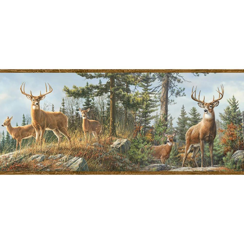 Ashmere Brown Whitetail Crest Wallpaper Border Sample