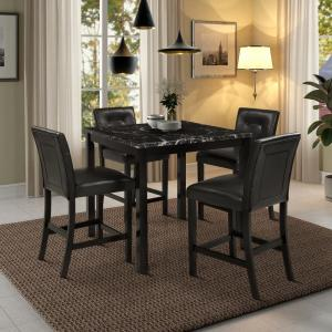 Black 5 Piece Faux Marble Counter Height Dining Set