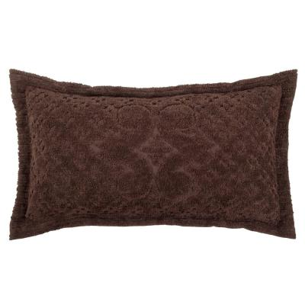 Ashton Collection in Medallion Design Chocolate King 100% Cotton Tufted Chenille Sham