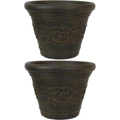 13 in. Sable Gwendolyn Resin Outdoor Flower Pot Planter (2-Pack)