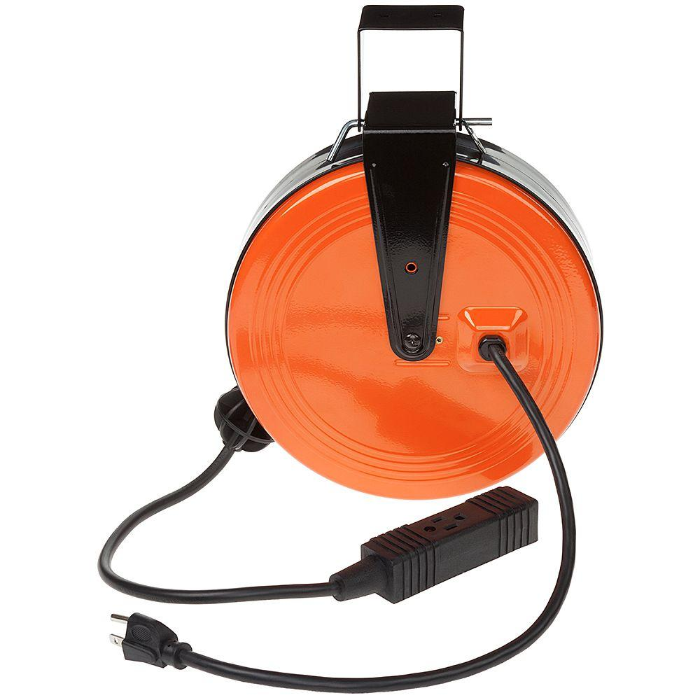 HDX 30 ft. 16/3 Heavy-Duty Retractable Extension Cord Reel with 3 ...