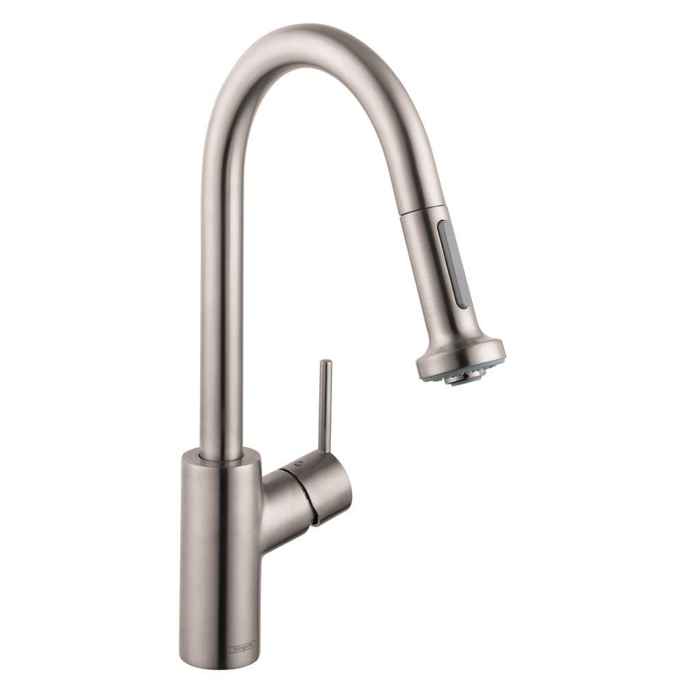 Hansgrohe Talis S Single-Handle Pull-Down Sprayer Kitchen Faucet with Magnetic Spray Head Docking in Steel Optik