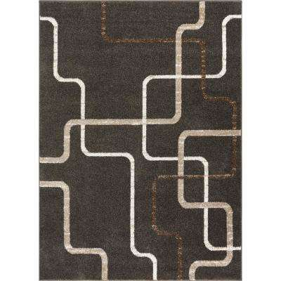 Serenity Juillet Charcoal Modern Squares Lines 9 ft. 3 in. x 12 ft. 6 in. Area Rug
