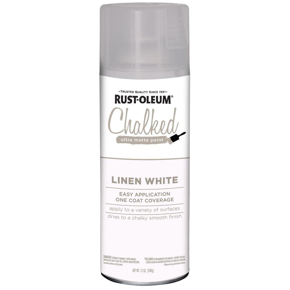 Rust Oleum 12 Oz Ultra Matte Interior Chalked Spray Paint Linen White 6 Pack 302591 The