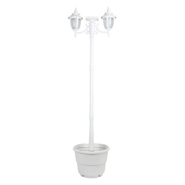 Hannah 2-Light Outdoor White Integrated LED Solar Lamp Post an Planter