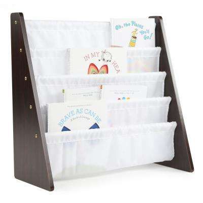 Espresso Collection Espresso/White Kids Book Rack Storage Bookshelf