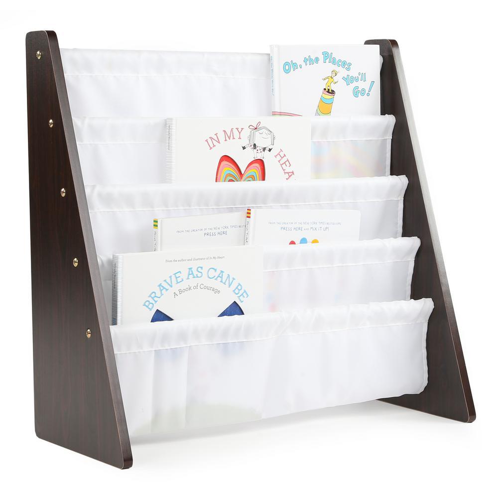 Tot Tutors Espresso Collection Espresso/White Kids Book Rack Storage Bookshelf