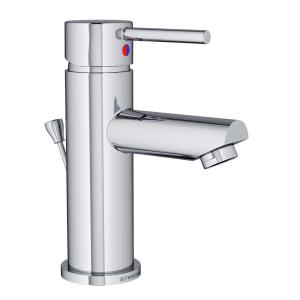 Modern Single Hole Single-Handle Bathroom Faucet with Drain Assembly in Chrome