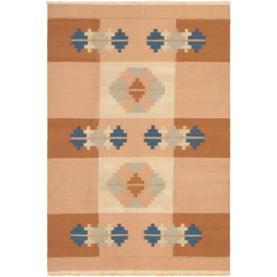 Tribal Gabbeh Beige, Brown 6 ft. x 9 ft. Geometric Area Rug