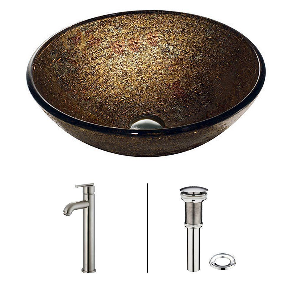 VIGO Textured Copper Vessel Sink in Brown with Faucet in Statuesque