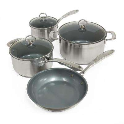 Induction 21 Steel 7-Piece Ceramic Non-Stick Cookware Set in Stainless Steel