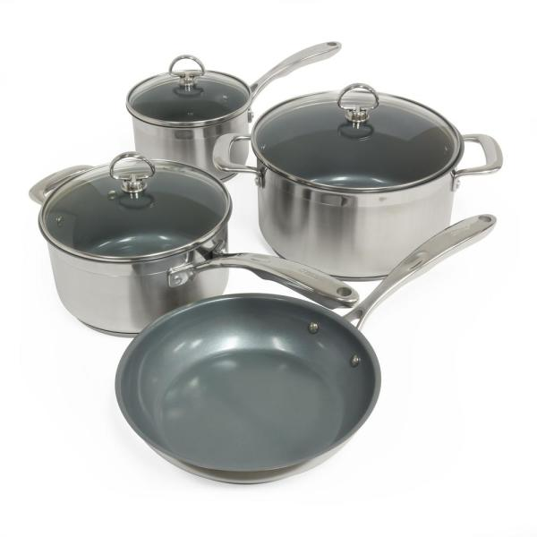 Chantal Induction 21 Steel 7-Piece Ceramic Non-Stick Cookware Set in Stainless Steel