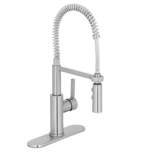 Statham Single-Handle Coil Spring Neck Kitchen Faucet with TurboSpray and FastMount in Stainless Steel
