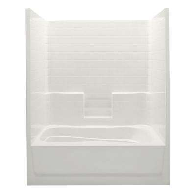 Everyday 60 in. x 42 in. x 74 in. 1-Piece Bath and Shower Kit with Left Drain in Biscuit