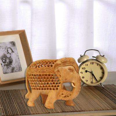 Elephant Beige Wooden Hand Carved Statue with Cutout Work