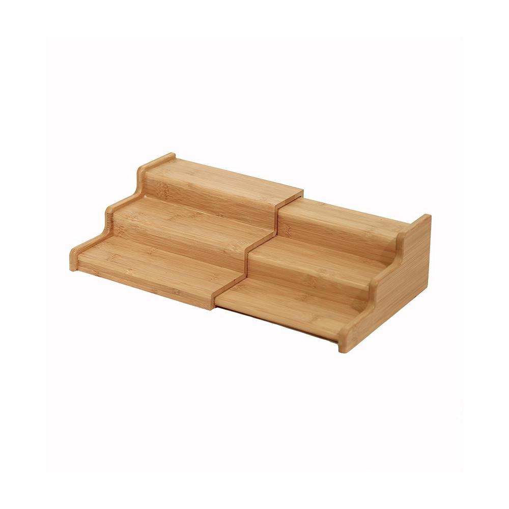 4488277e097 Seville Classics Bamboo Expandable 3-Tier Spice Rack Step Shelf Cabinet  Organizer
