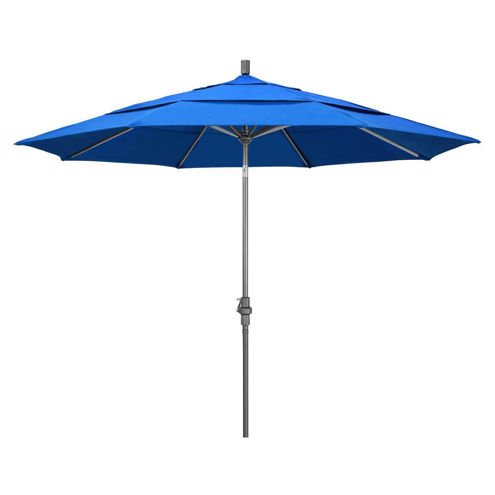 11 ft. Hammertone Grey Aluminum Market Patio Umbrella with Crank Lift in Royal Blue Olefin