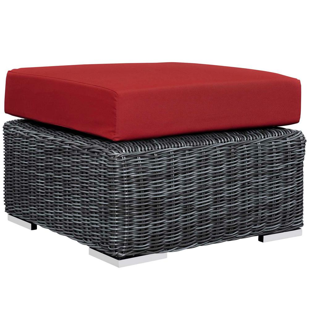 MODWAY Summon Wicker Outdoor Patio Ottoman with Sunbrella Canvas Red Cushion