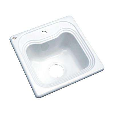 Oxford Drop-In Acrylic 16 in. 1-Hole Single Bowl Entertainment Sink in White
