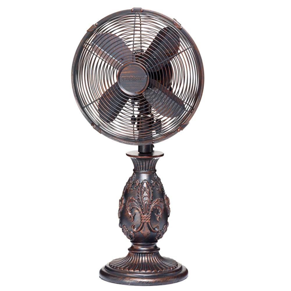 10 in. Copper Fleur De Lis Table Fan