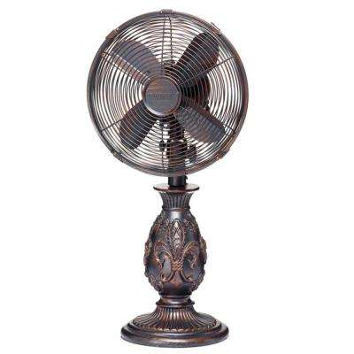 10 in. Copper Fleur De Lis Table Fan