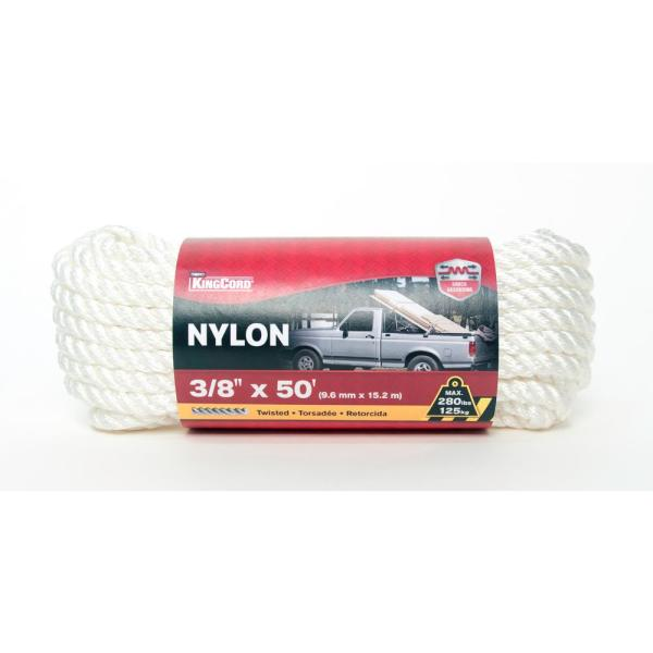 3/8 in. x 50 ft. Twisted Nylon Rope, White