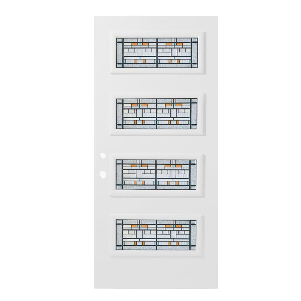 36 in. x 80 in. Chicago 4 Lite Painted White Right-Hand
